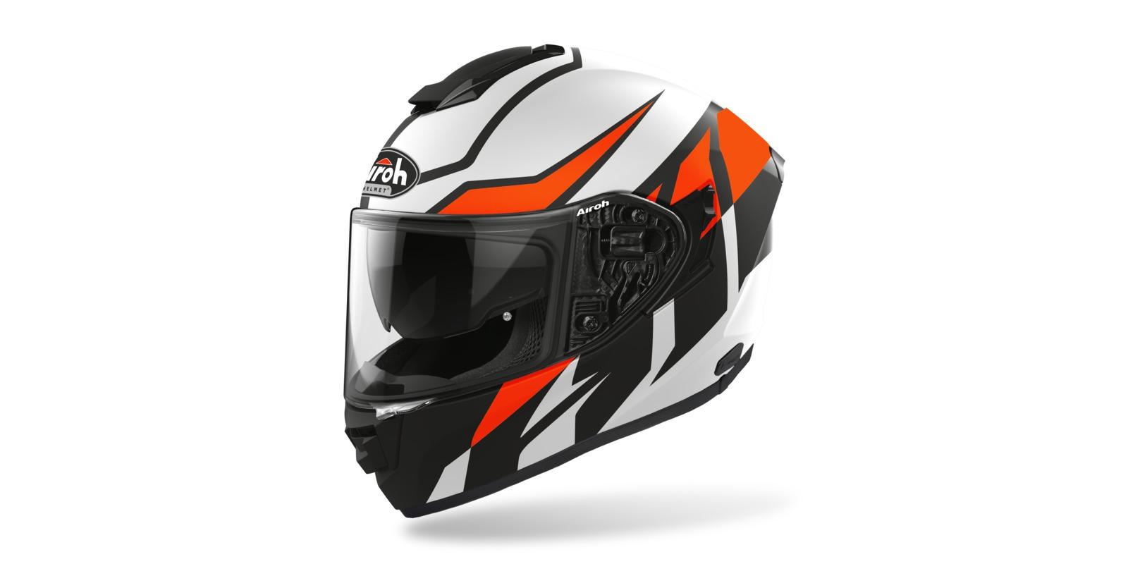 přilba ST 501 FROST, AIROH - Itálie (černá/bílá/oranžová-matná)
