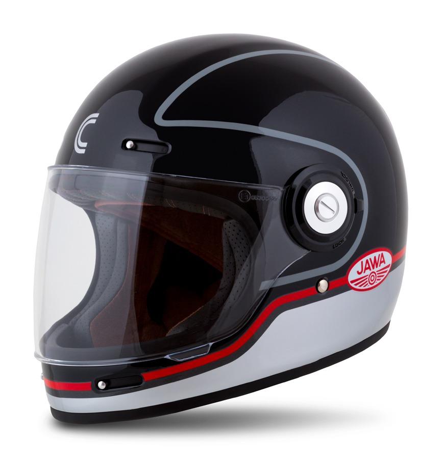 přilba Fibre Jawa Sport, CASSIDA (černá/stříbrná/červená)