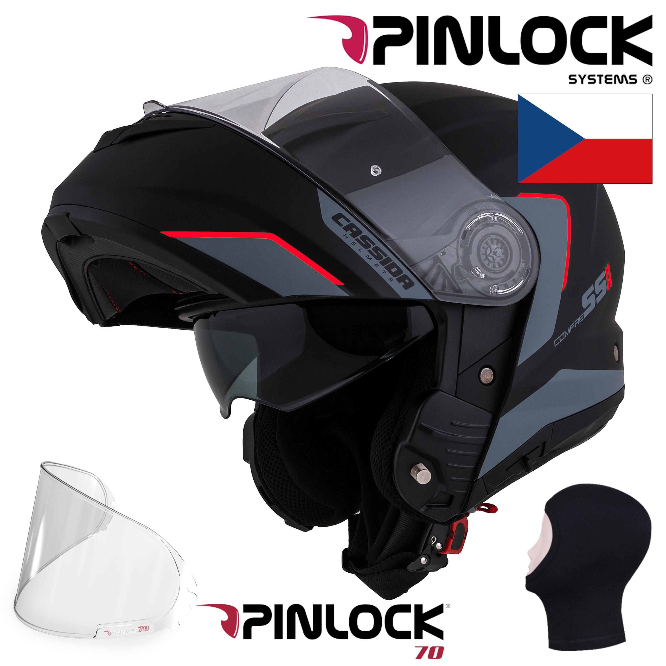 + PINLOCK Moto přilba CASSIDA Compress 2.0 Refraction černá-červená