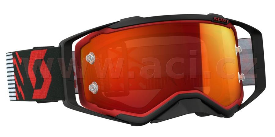 brýle PROSPECT, SCOTT (červené/černé, oranžové chrom plexi s čepy pro slídy)