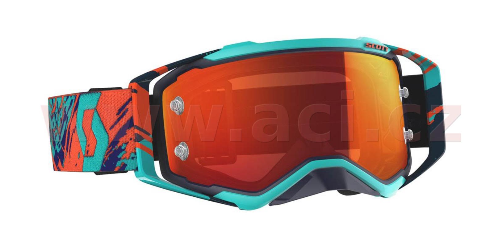brýle PROSPECT, SCOTT (modré/oranžové, oranžové chrom plexi s čepy pro slídy)