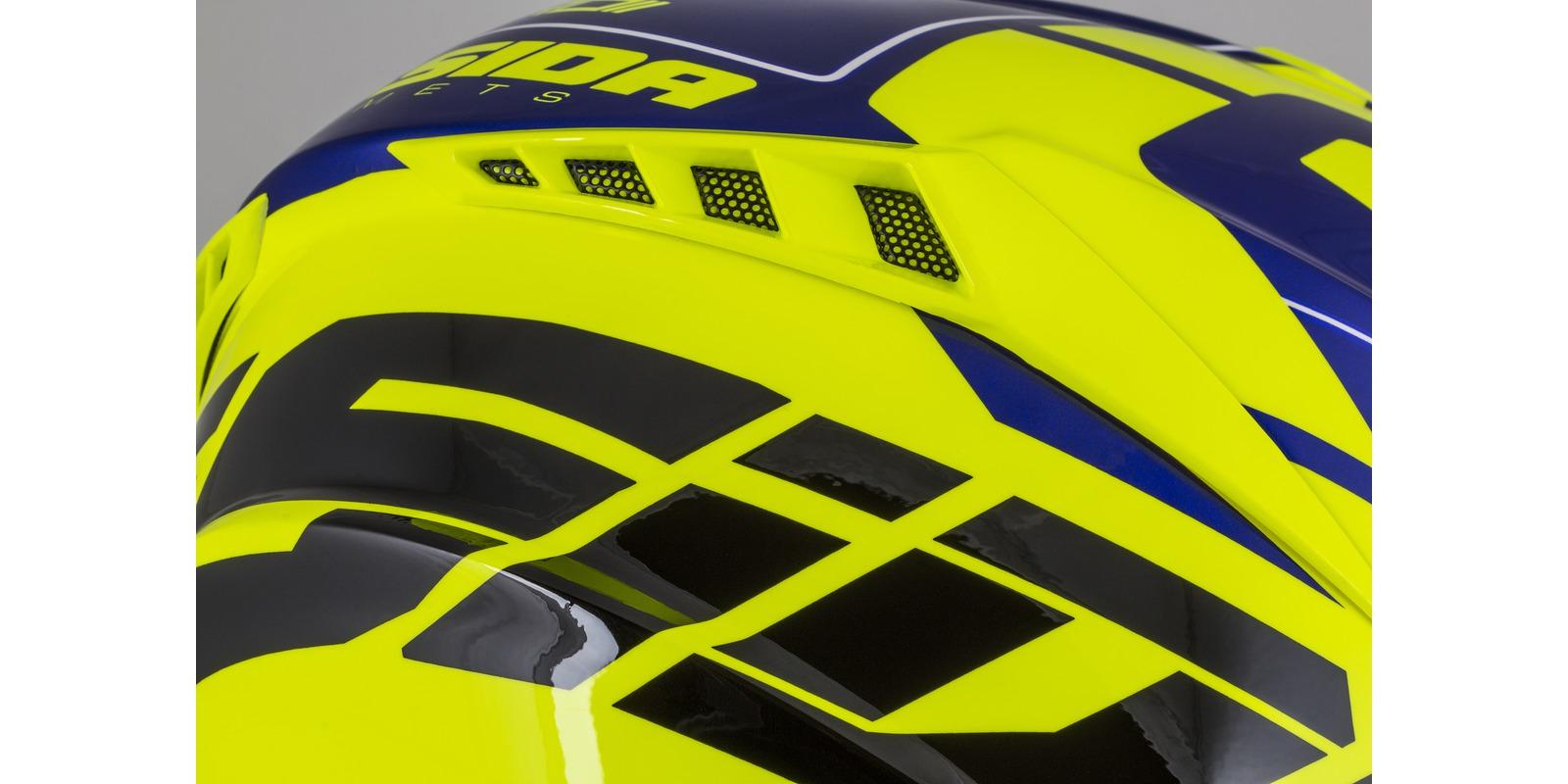 přilba Cross Pro II Contra, CASSIDA (žlutá fluo/modrá perleť/černá/bílá)