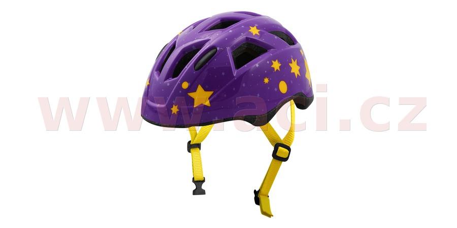 cyklo přilba STARS JUNIOR, OXFORD, dětská (fialová/žlutá)