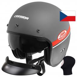 Balaclava Moto přilba CASSIDA Oxygen Jawa OHC šedo-černá matná