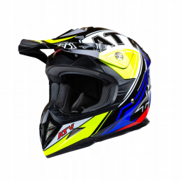 Moto přilba HORN ATV modrá-žlutá + brýle zdarma