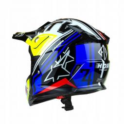 Dětská moto přilba HORN ATV Junior Quad modrá-žlutá + brýle zdarma