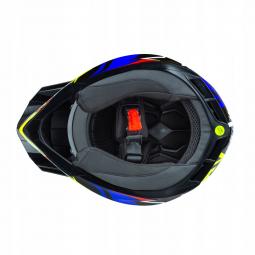 Dětská moto přilba HORN Point Junior Quad modrá-žlutá + brýle zdarma